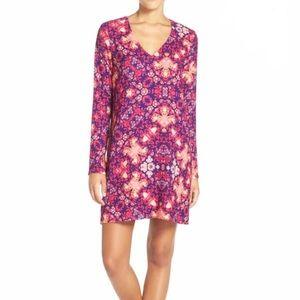 CHARLES HENRY Bright Boho Floral Print Shift Dress